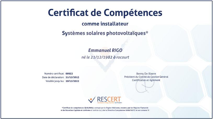 certificat installateur rescert